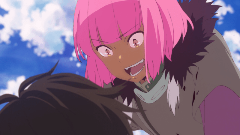 A boy with pink hair crouches over another person in CHILDREN OF THE WHALES