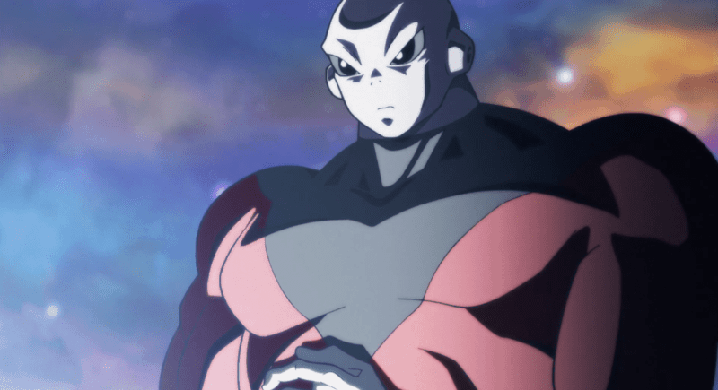 Jiren stands silently as Goku undergoes yet another transformation.