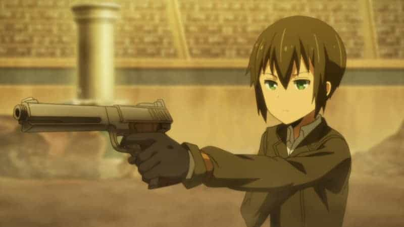 Kino aims her gun at her opponent in this screencap of the colosseum tournament.