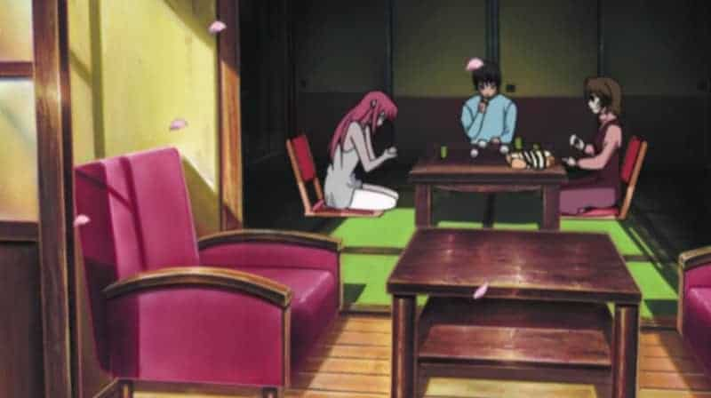 Kohta and Yuka dining with Nyu after finding her on the beach in ELFEN LIED
