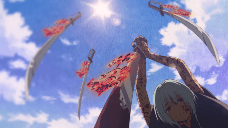 A girl holds a bloody sword with swords floating around her.