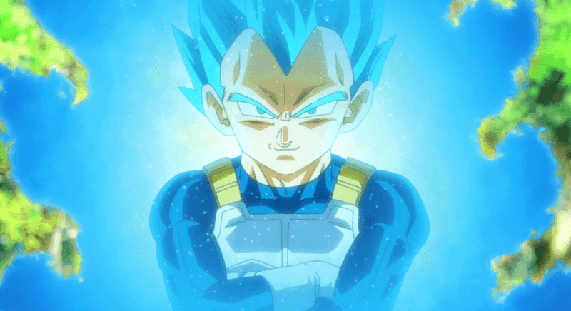 Vegeta stands confidently after transforming into a Super Saiyan God Super Saiyan