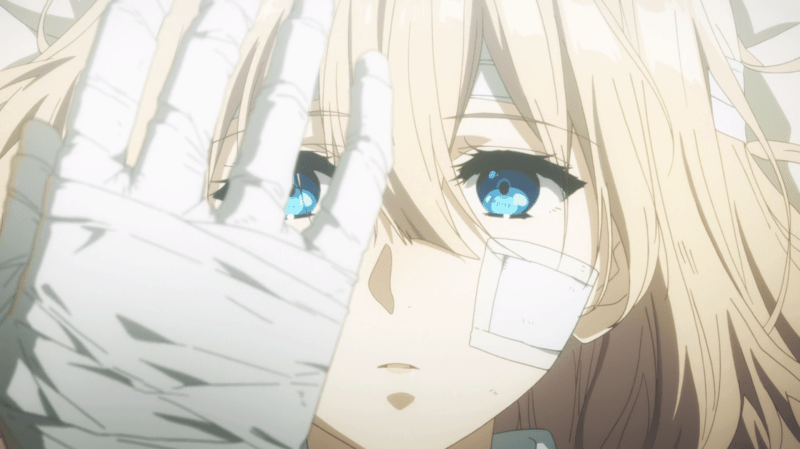 Violet Evergarden wistfully stares at her bandage wrapped hand.