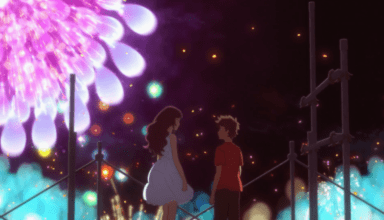 Our two main characters stand beneath the fire works display