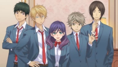 From left to right, Yusuke, Nozomu, Kae, Hayato, and Asuma stand in this promotional banner for KISS HIM, NOT ME!.