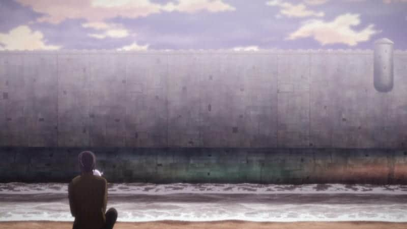 Shizu sits on a beach and watches as the ship country sails away in KINO'S JOURNEY.