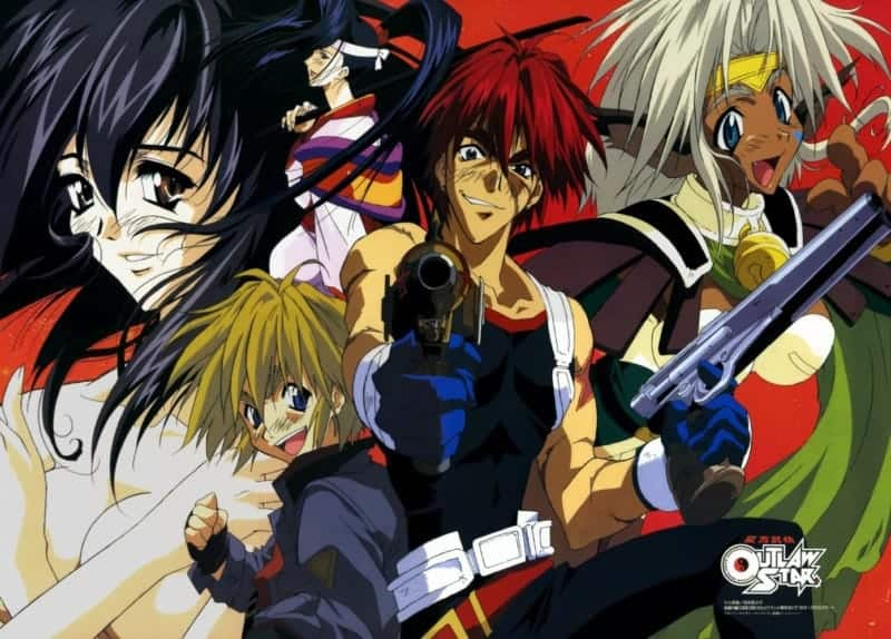 The crew of the Outlaw Star posing dramatically