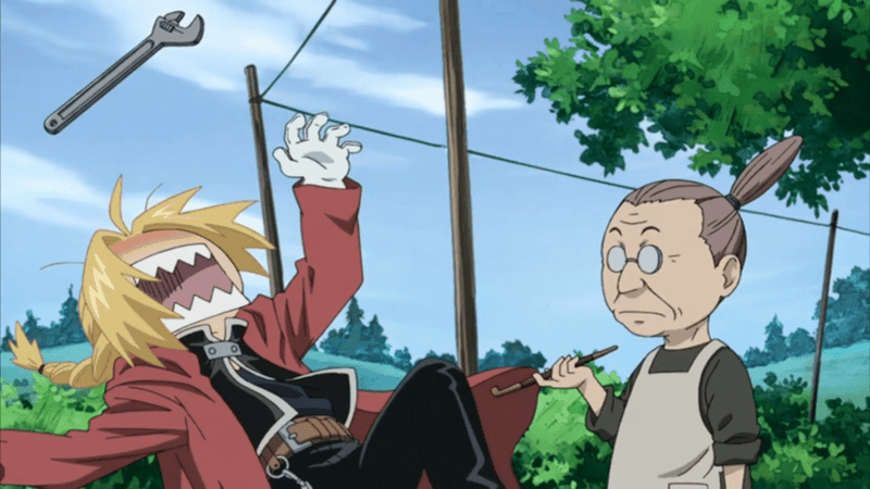 Not one of the traditional anime moms, Pinako stands witness to Winry throwing wrenches at Ed.