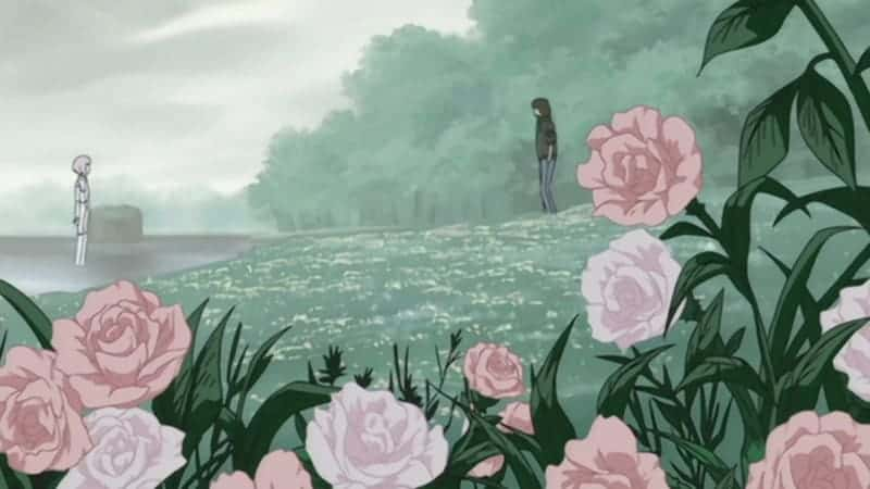 The camera pans out as Cheza and Kiba meet at last in a rose garden. Just one example of the beautiful scenery in WOLF'S RAIN