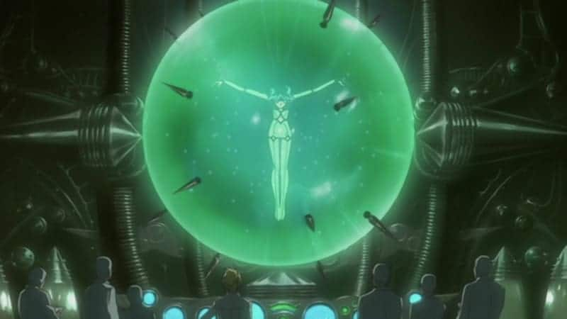 Cher and her team of scientists examine Cheza, who is suspended in a glass orb filled with a special solution to keep her in stasis. WOLF'S RAIN