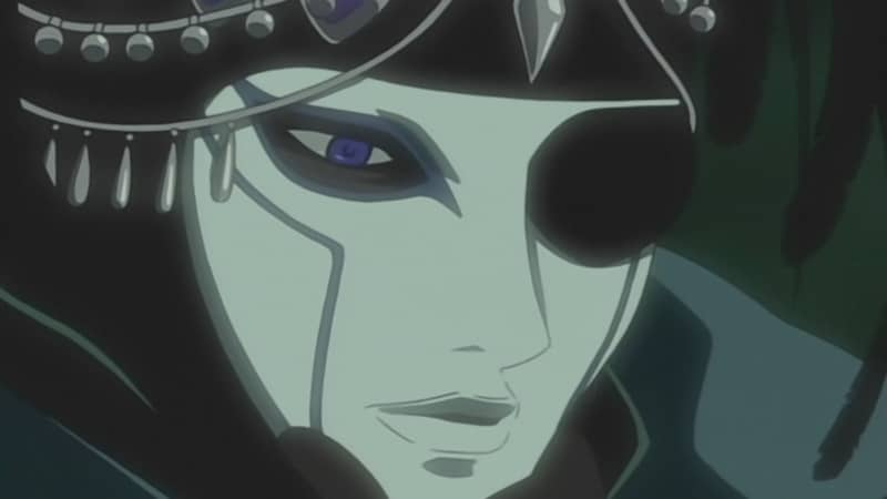 Darcia removes a white mask to reveal his golden wolf's eye in this screencap from WOLF'S RAIN.
