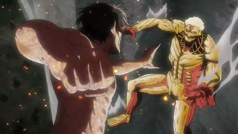 Eren in TItan form prepares to punch the Armored Titan in ATTACK ON TITAN