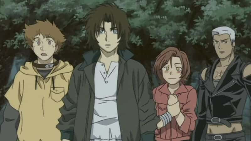 Hige and Kiba stand agape at the sight before them while Toboe clutches his chest and blushes and Tsume narrows his eyes suspiciously. WOLF'S RAIN