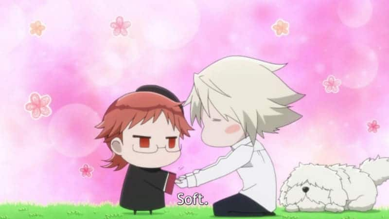 Chibi forms of Kai and Heine. Kai compares Heine's soft hands to the dog's paws.