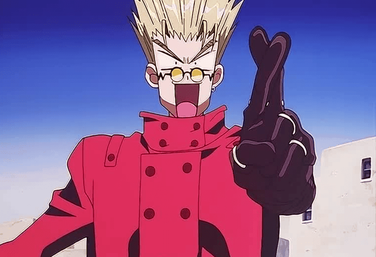 Vash extends his fingers crossed