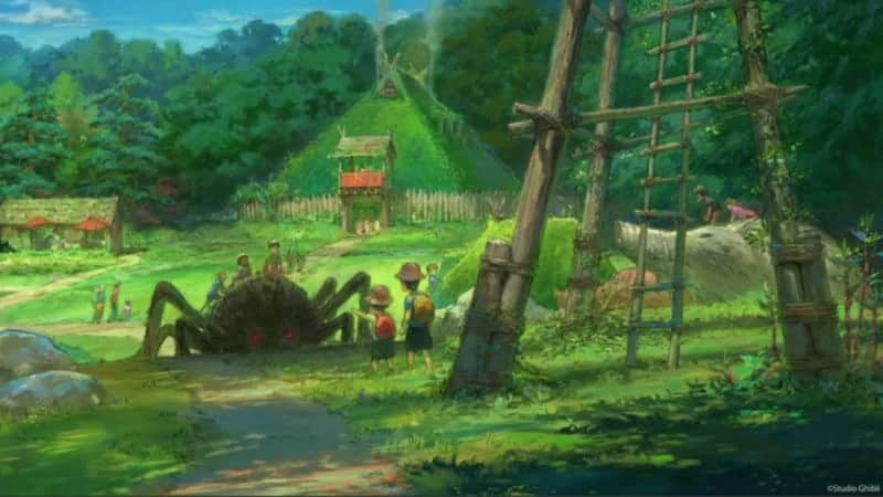 This concept art features the village from Princess Mononoke.