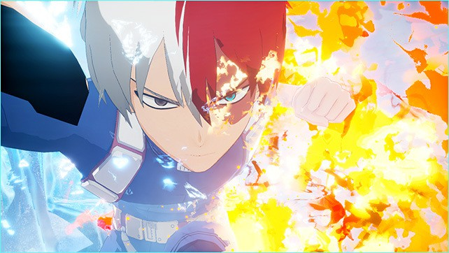 Shoto shows off his fire and ice quirk in some gameplay in My Hero One's Justice!