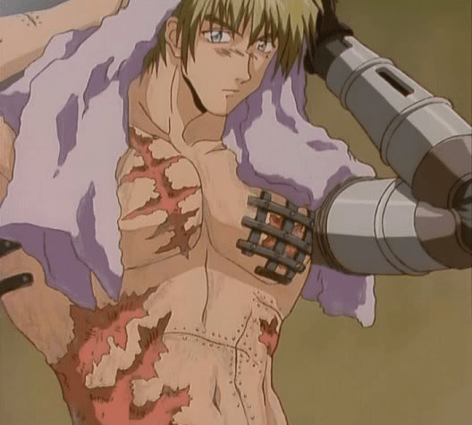 Vash towels off his hair. His body is covered in scars