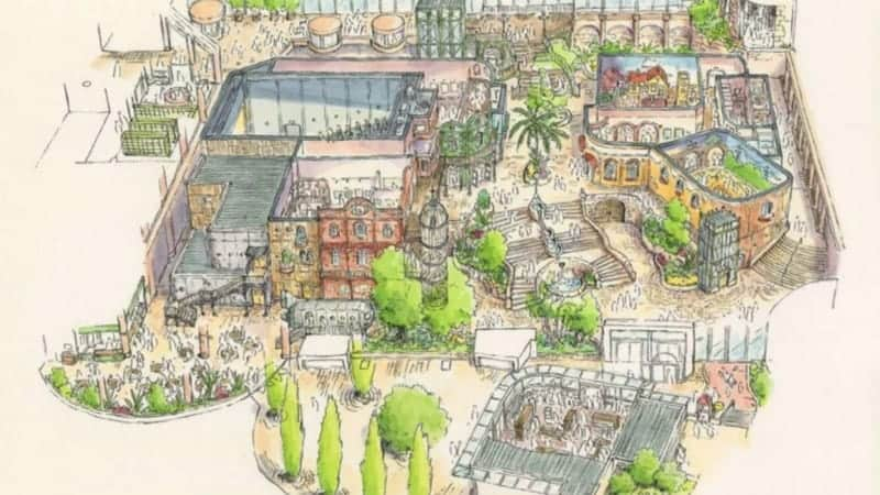 A sketch of the plaza where the Cat Bus shop and other stores will be at the Ghibli Park.