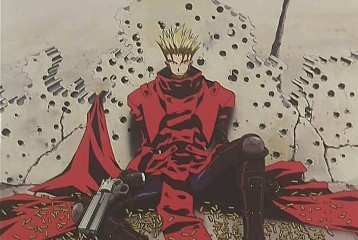 Vash is surrounded by bullet holes