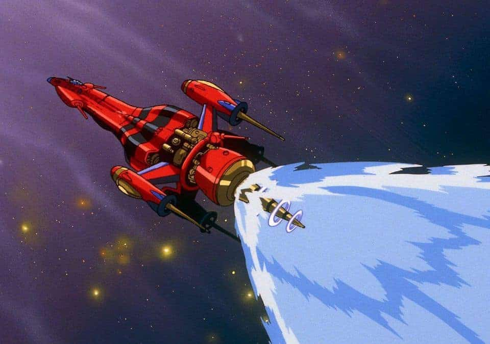 The ship the Outlaw Star flies through space