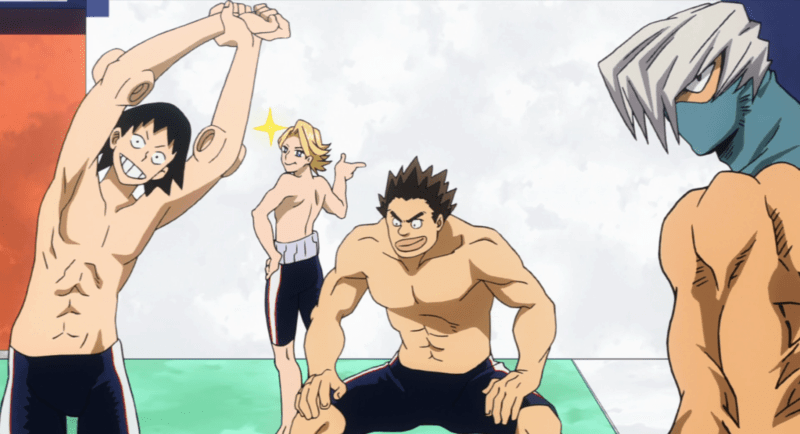 The boys of UA Academy stretching before swimming MY HERO ACADEMIA | Image: Crunchyroll