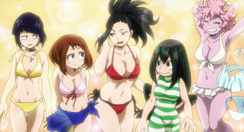 The girls of UA Academy wearing various swimsuits as per Mineta's imagination. MY HERO ACADEMIA
