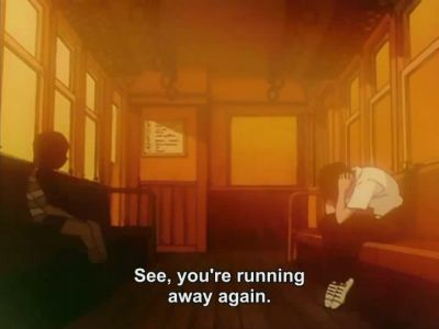 Shinji encounters his shadow self on a bus.