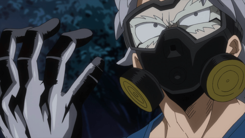 Tetsutetsu activates his Quirk and prepares to strike back against the Vanguard Action Squad