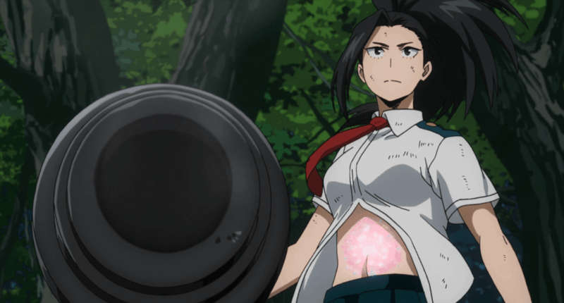 Yaoyorozu creates a cannon to fight the earth golems in MY HERO ACADEMIA episode 40.