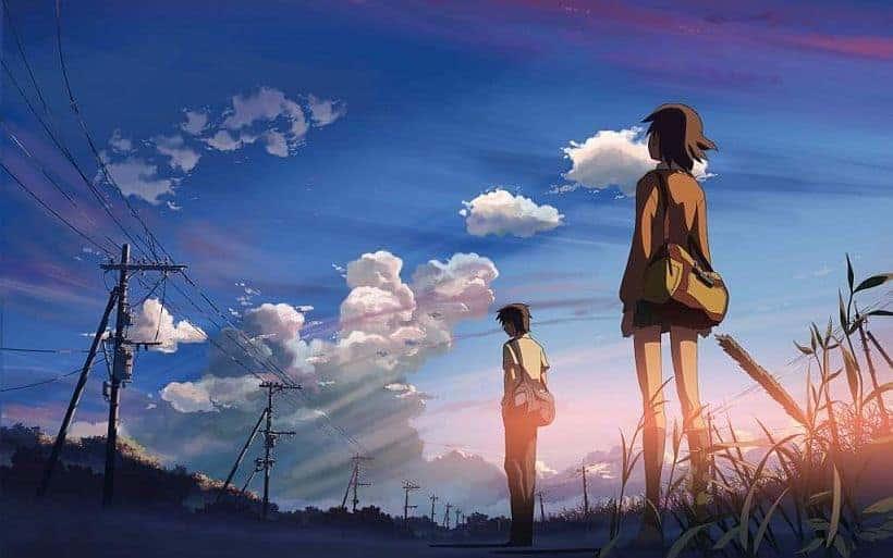Takaki Tono and Akari Shinohara before a vast dusk sky from 5 CENTIMETERS PER SECOND