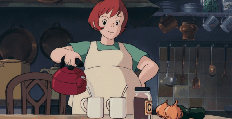 Osono making hot chocolate for her and Kiki.