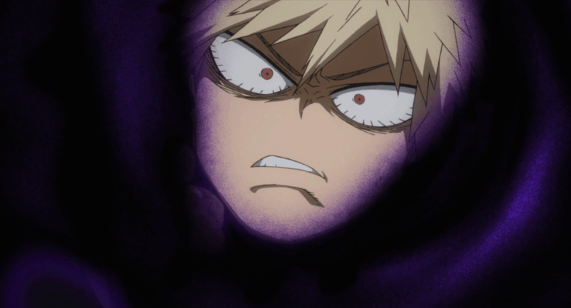 MY HERO ACADEMIA character Katsuki Bakugo is stricken with fear as villains capture him.