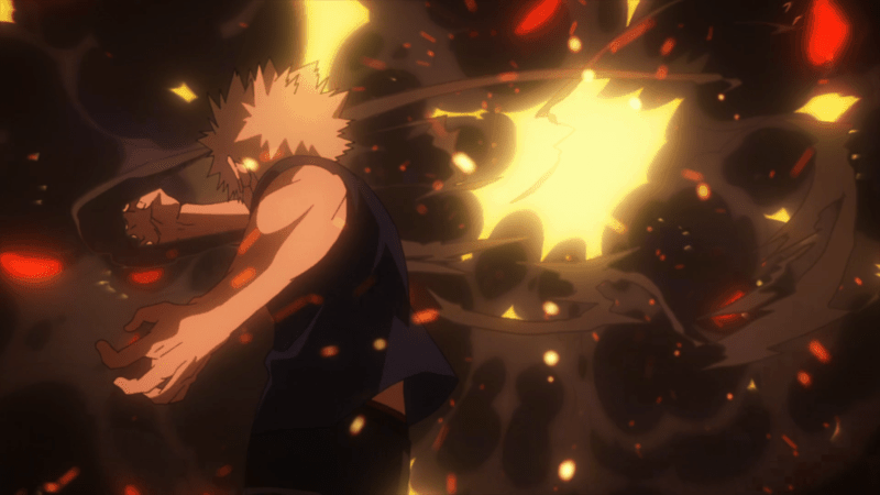 MY HERO ACADEMIA, in stellar animation, shows Bakugo's explosive attack on the villain Twice