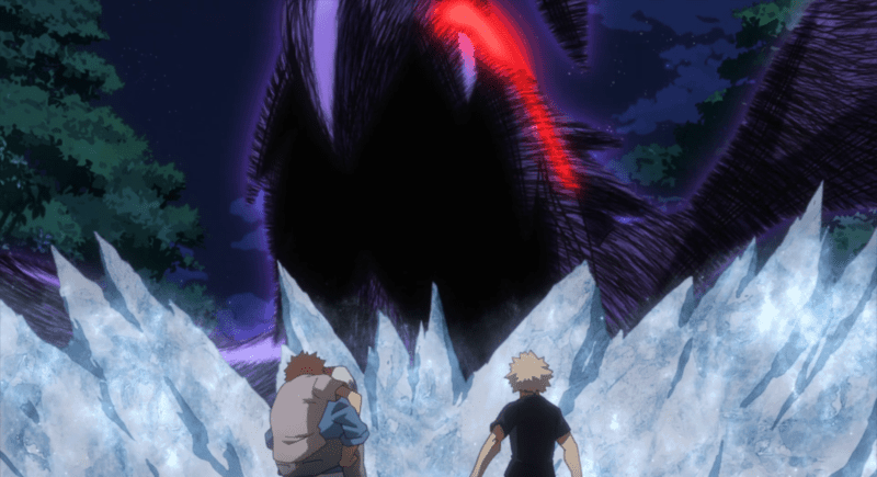 Tokoyami's Quirk, Dark Shadow, rampages against a wall of Todoroki's ice. MY HERO ACADEMIA