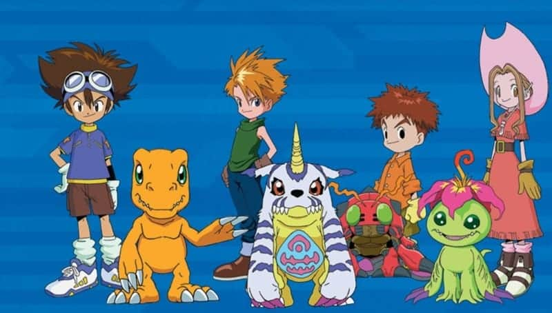The main protagonists and their partner Digimon from DIGIMON ADVENTURE pose together. DIGIMON REARISE