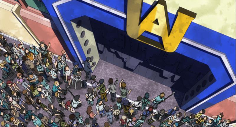 In MY HERO ACADEMIA, reporters clamor outside of UA Academy