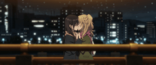 Yuzu and Mei Kissing in the CITRUS anime
