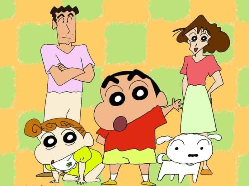 A promotional shot of the CRAYON SHIN-CHAN cast