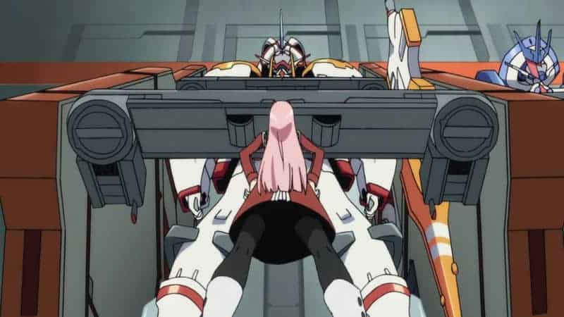 Zero Two stands in front of a FranXX