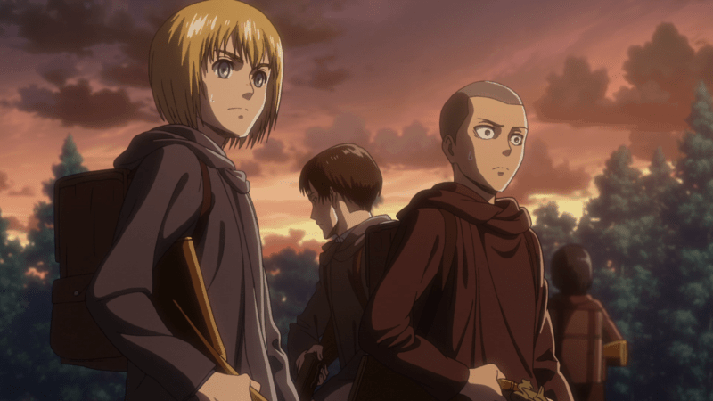 The Survey Corps on the run in ATTACK ON TITAN
