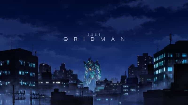 Gridman surrounded by city buildings from the SSSS.GRIDMAN trailer