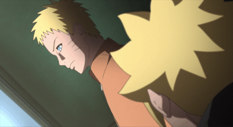 Boruto being admonished by Naruto in BORUTO: NARUTO NEXT GENERATIONS