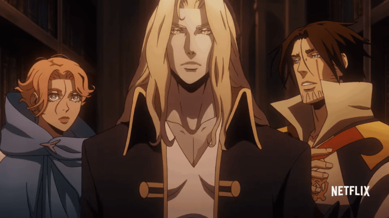 Sypha, Alucard, and Trevor Belmont from CASTLEVANIA