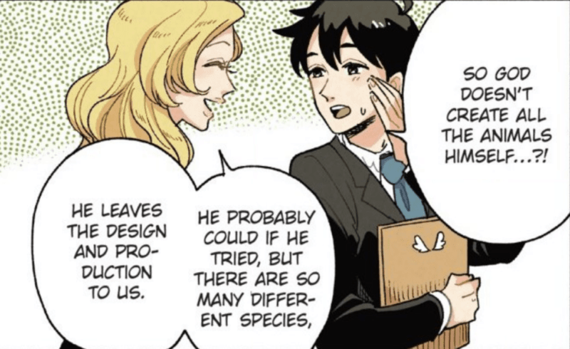 Shimoda finds out that God doesn't invent the world's animals in Heaven's Design Team Vol. 1