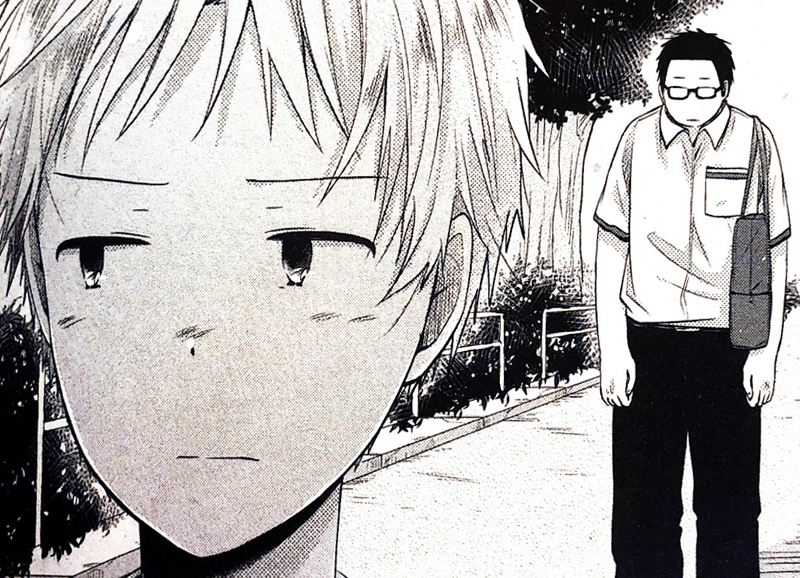 Kou has his back turned to Dai, both of their expressions pained.