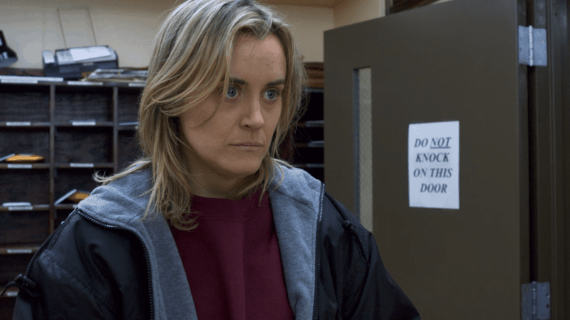 Piper as she gets released in ORANGE IS THE NEW BLACK