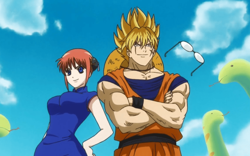 GINTAMA characters dressing up as characters from DRAGON BALL.