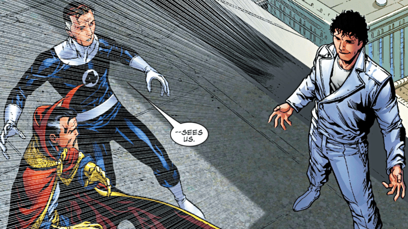 Beyonder is confronted by Mr. Fantastic of The Fantastic Four and Dr. Strange