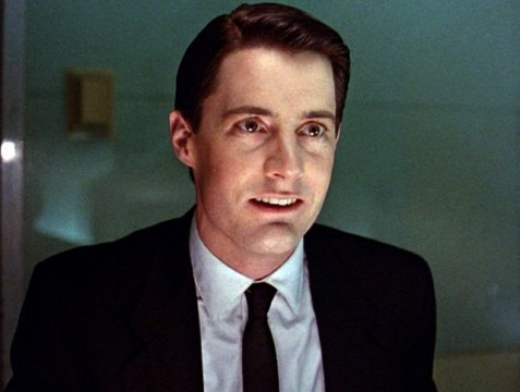 Kyle MacLachlan as Agent Cooper in Season 1 of Twin Peaks. In the morgue, he tells Sheriff Truman,